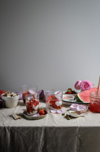 vegan eton mess with watermelon rose and strawberry