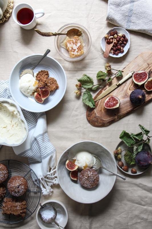 hazelnut buckwheat cakes with a no churn ricotta icecream and figs