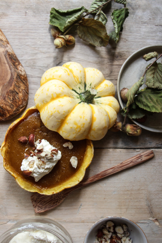 pumpkin pies baked inside squashes-1-14