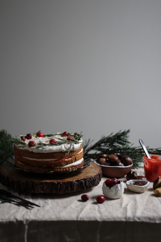 spiced chestnut cake with cranberry curd (refined sugar free)