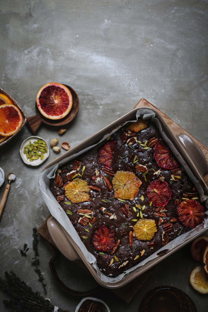 salty blood orange brownies with nuts and thyme