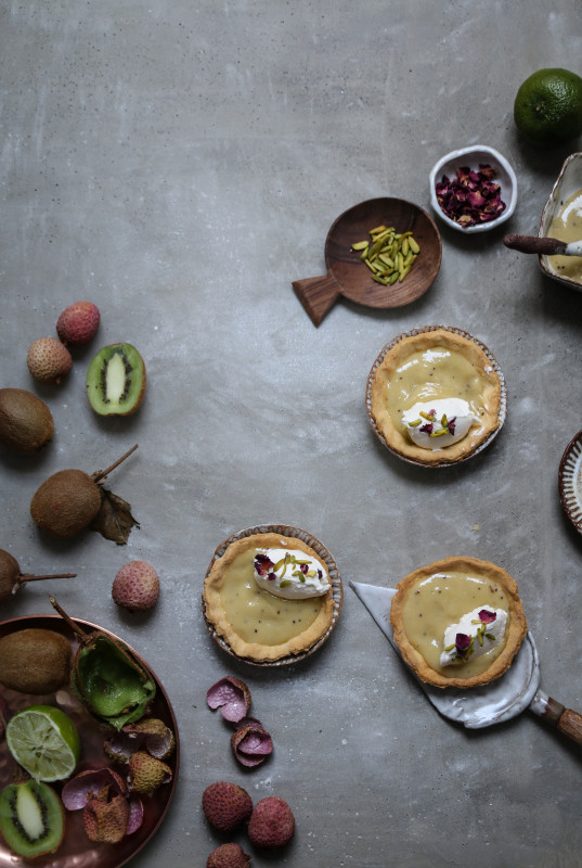 kiwi lychee lime curd tarts with rose cream