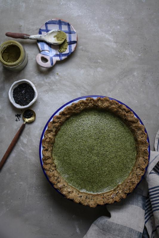 matcha custard pie with black sesame pastry-1-3