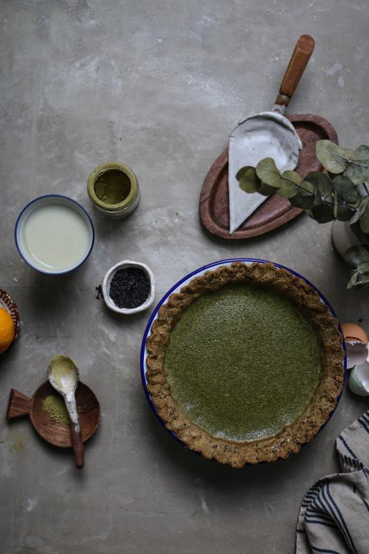 matcha custard pie with black sesame pastry-1-4