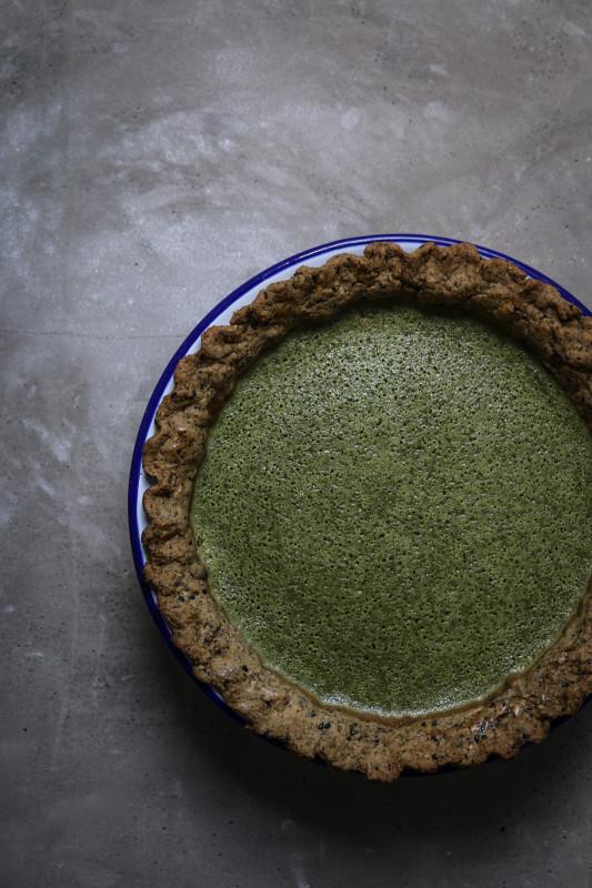 matcha custard pie with black sesame pastry-1