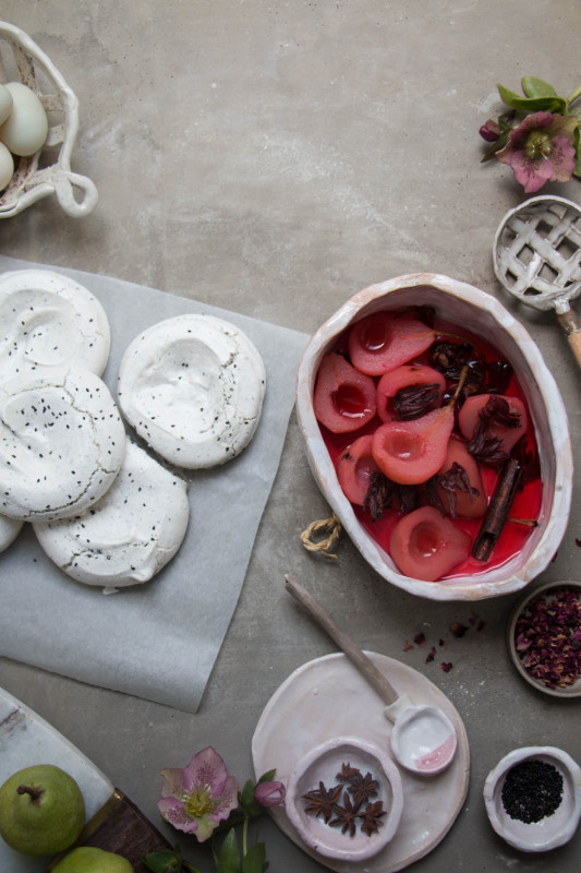 black sesame meringue nests with hibiscus poached pears-1-4