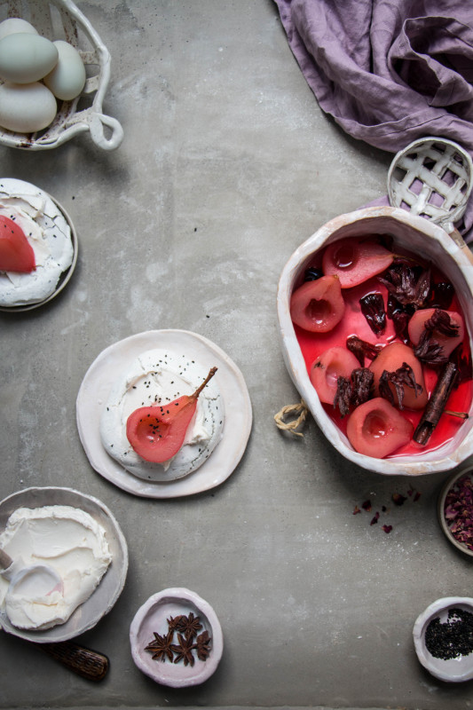 black sesame meringue nests with hibiscus poached pears-1-6