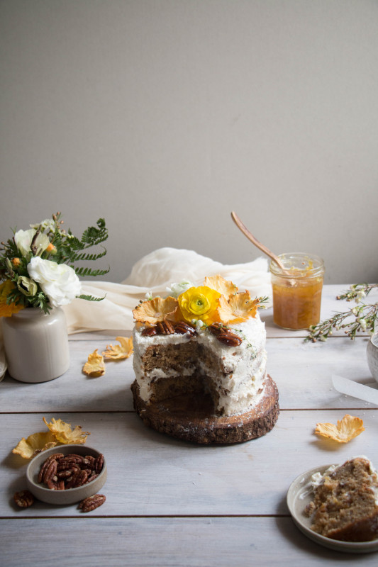 hummingbird cake with pineapple lime jam and coconut frosting