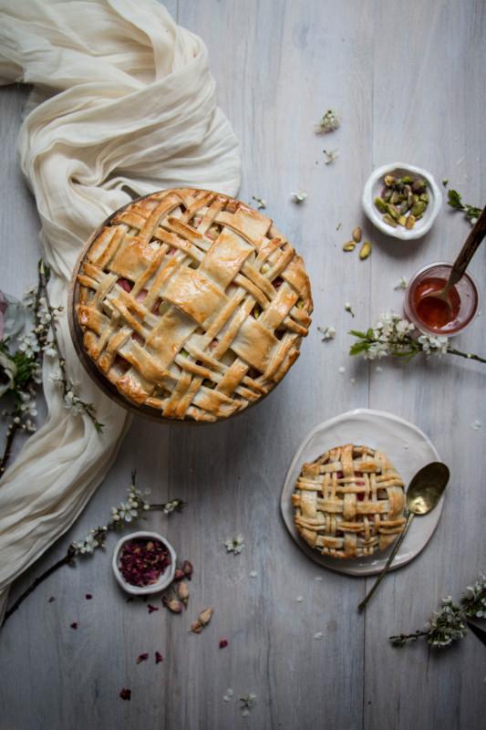 apple rose and rhubarb pistachio pie