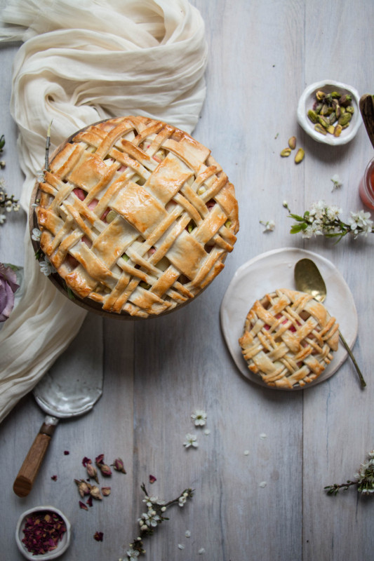 apple rose and rhubarb and pistachio pie-1-30