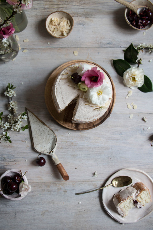 feather light cake with balsamic cherries