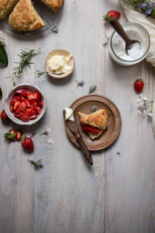 buttermilk honey scones with macerated strawberries