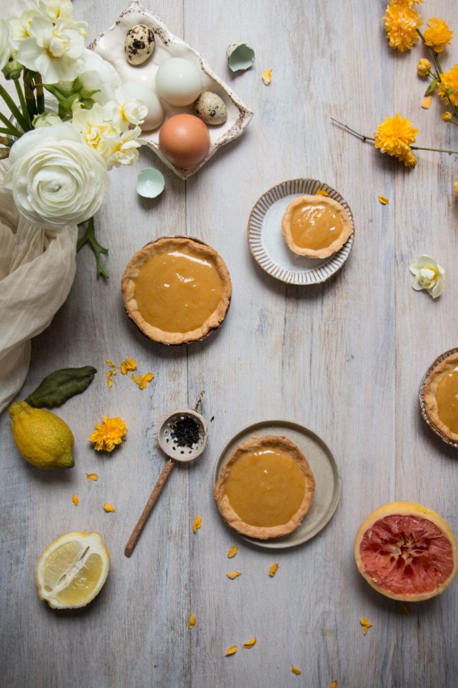pink grapefruit lemon and earl grey tarts with lavender honey