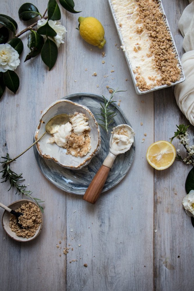 No churn lemon clotted cream ice cream with comb honey and Anzac crumble