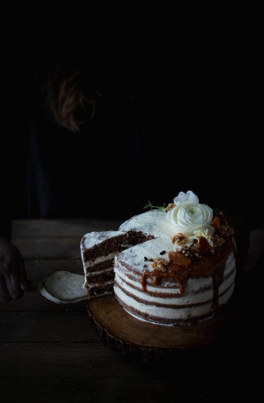 mocha walnut cake with miso buttermilk caramel
