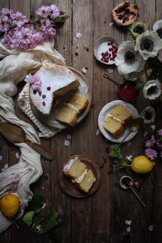 lemon pomegranate hibiscus curd filled cake-1-11