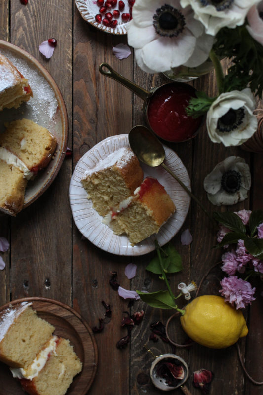 lemon pomegranate hibiscus curd filled cake-1-18