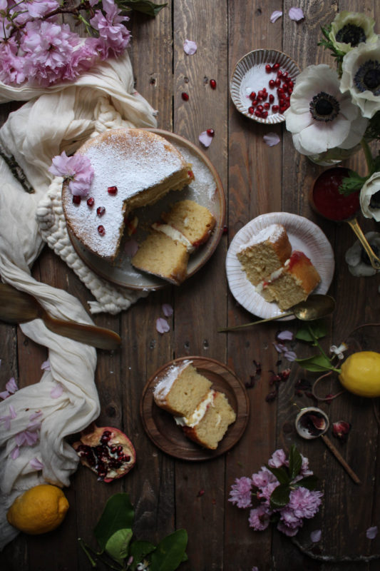 lemon pomegranate hibiscus curd filled cake-1-23