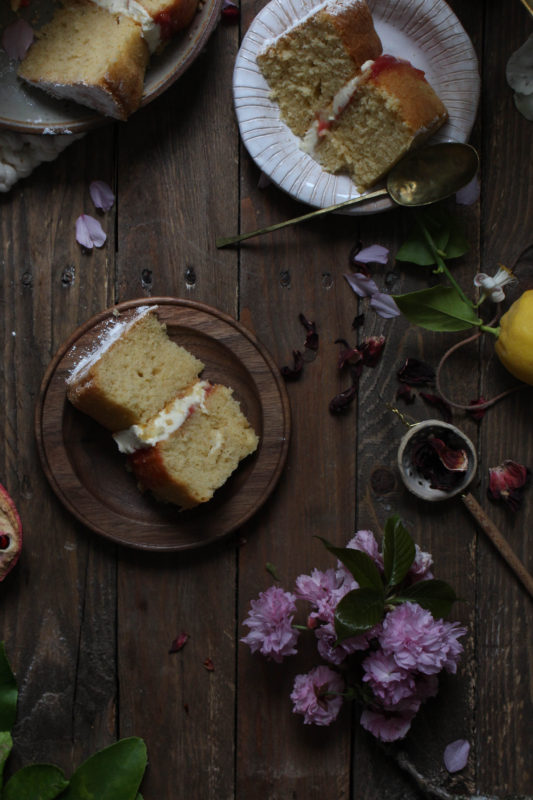 lemon pomegranate hibiscus curd filled cake-1-25