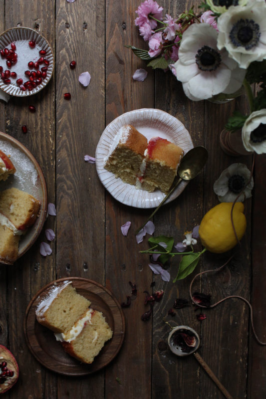 lemon pomegranate hibiscus curd filled cake-1-31