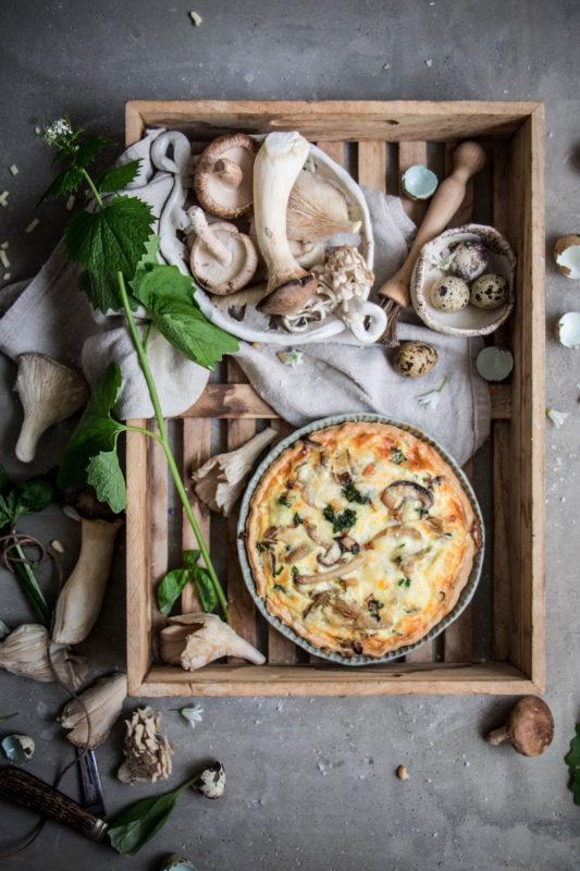 woodland mushroom quiche with foraged garlic mustard