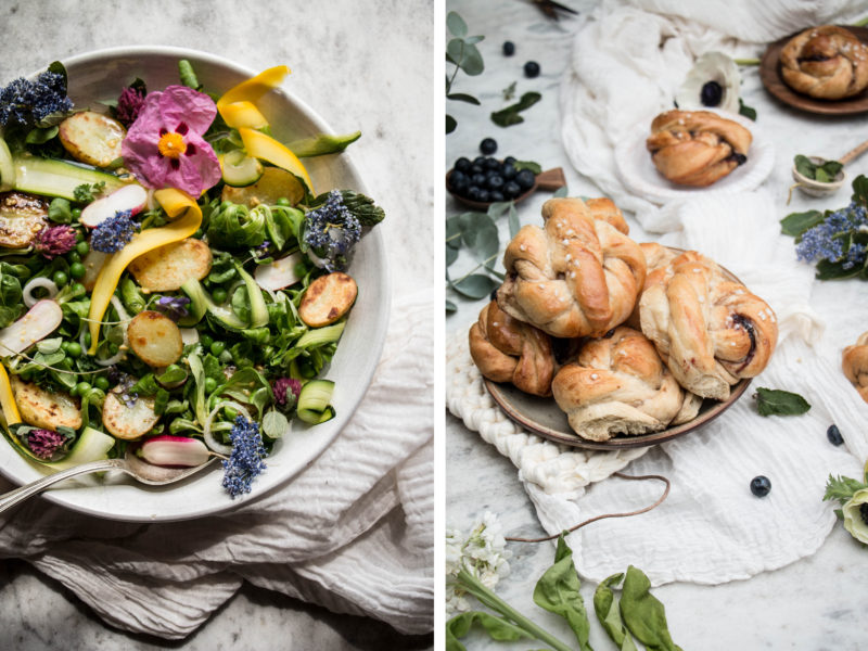 vegan twist buns, Spring salad and stories of France