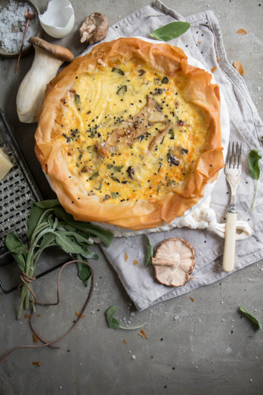 miso and sesame glazed shiitake and king oyster mushroom quiche
