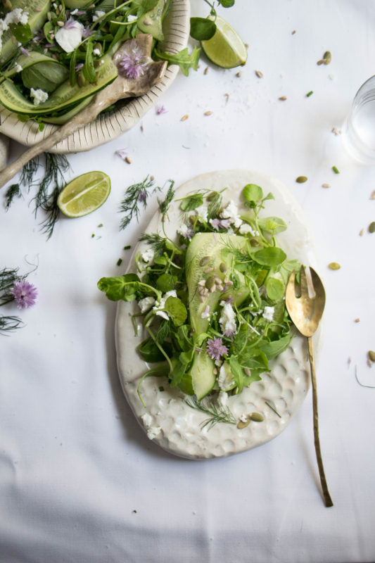 cucumber rocket and watercress salad with seeds and goats cheese