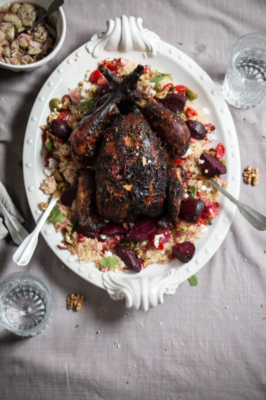 harissa rose roast chicken with couscous salad