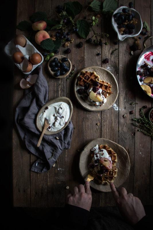Belgian waffles with roasted fruit and rose yogurt