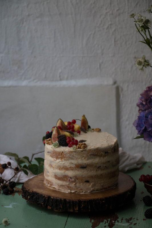 Fig Blackberry Walnut Cake With Peach Tea Frosting Twigg