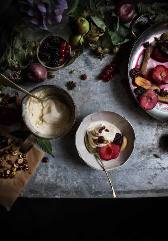 earl grey buttermilk ice cream with roasted fruit with honey glazed hazelnuts
