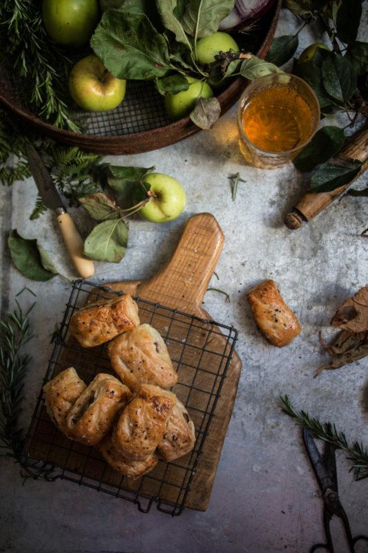 apple rosemary and cider glazed onion sausage rolls - twigg studios