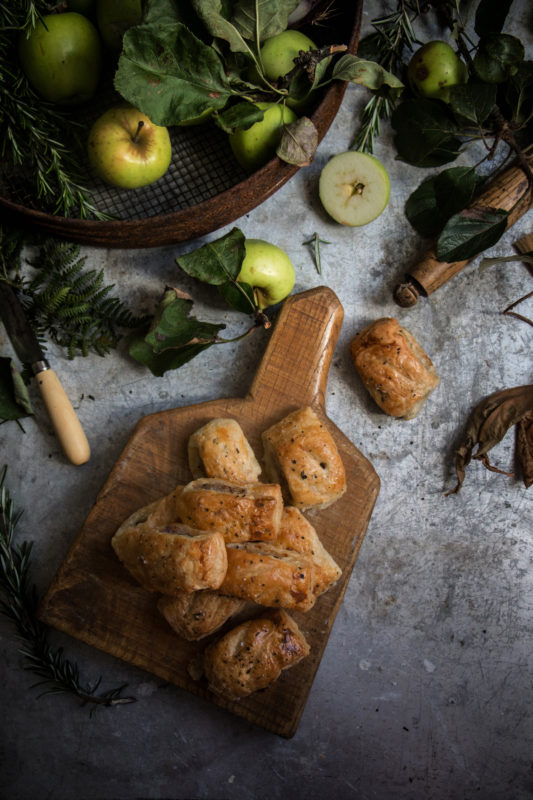 apple rosemary and cider glazed onion sausage rolls