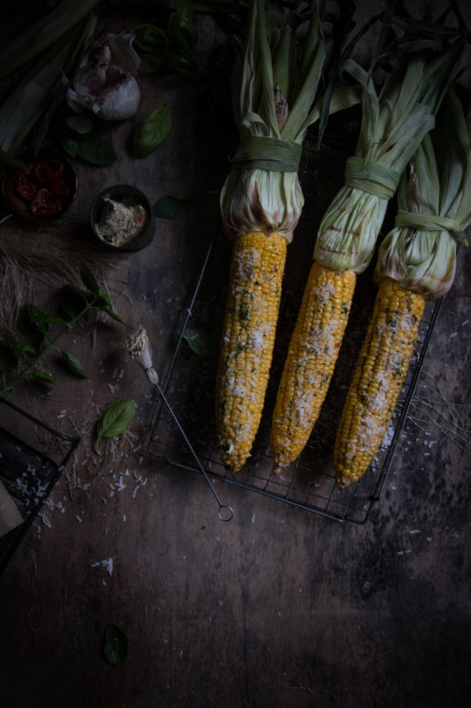 grilled corn on the cob with sundried tomato basil and garlic butter ...
