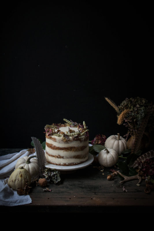 pumpkin ginger walnut and date cake with mascarpone cream