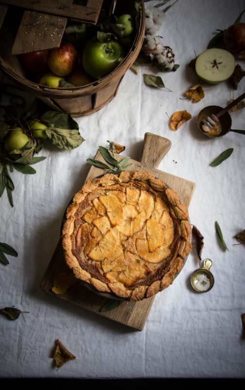 salty honey apple pie with sage pastry