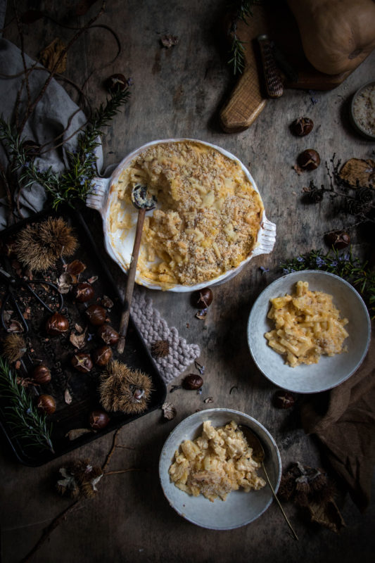 mac and cheese with beer and butternut squash and roasted chestnut rosemary crumbs