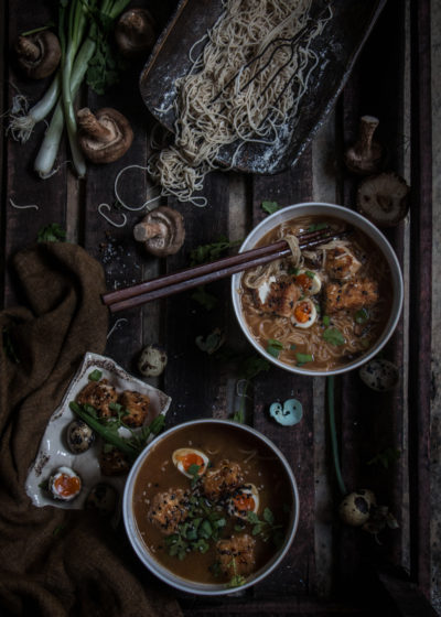 homemade ramen noodles in a lapsang souchong broth with crispy tofu