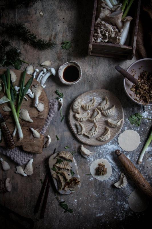 vegan miso mushroom cabbage gyoza dumplings