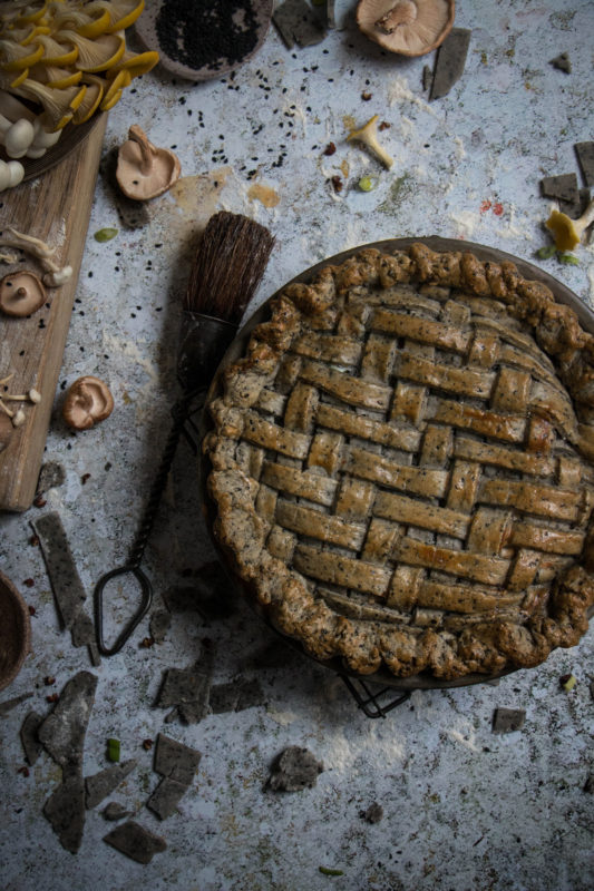 miso chicken and mushroom pie with black sesame sichuan pepper pastry