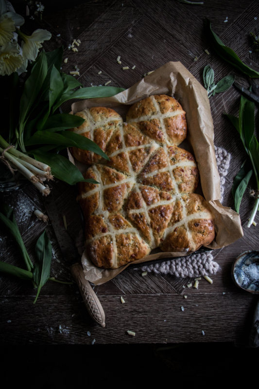 savoury cheddar and wild garlic hot cross buns