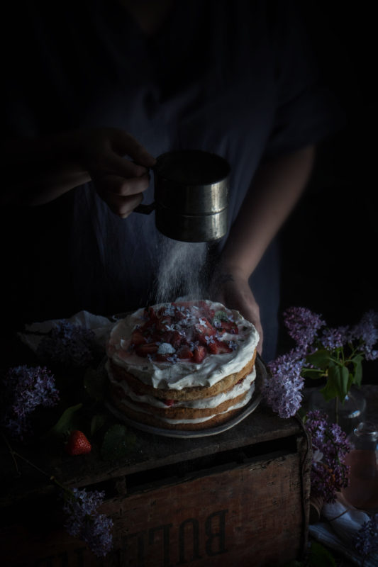 buckwheat sponge with strawberries in lilac syrup