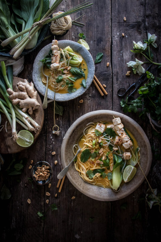 thai curry soup with tofu satay
