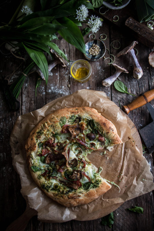 mushroom pancetta and wild garlic pizza with cream cheese