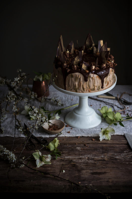 chocolate cookie dough cake with caramel frosting