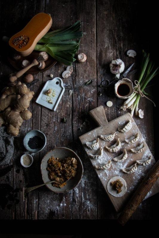 Vegan Gyoza Dumplings With Pumpkin Leek And Mushrooms