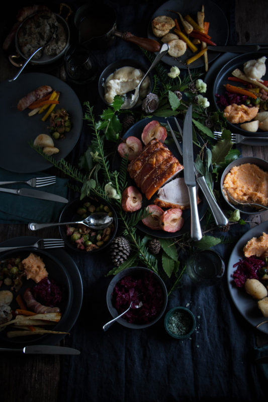 the art of entertaining at christmas, pork with apples and a cheeseboard