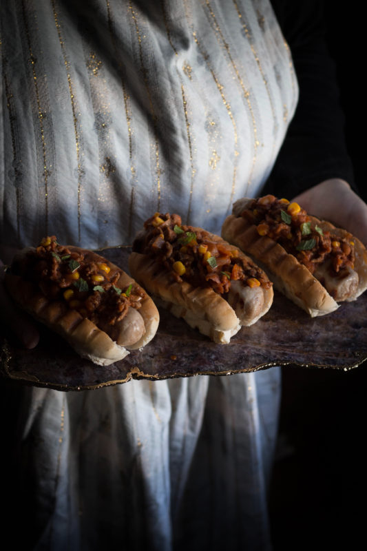 bourbon spiked chilli dogs