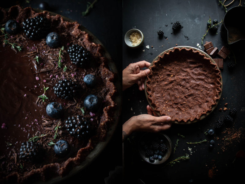 salty chocolate truffle tart with berries
